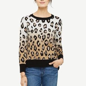 Anne Taylor Cheetah Gold Gradient Sweater